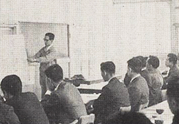 Scene of a technical lecture in around 1965